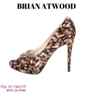 BRIAN ATWOOD ANIMAL PRINT SATIN PEEP TOE PUMPS
